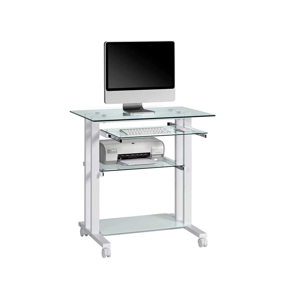 Computertisch auf Rollen Weiß | Büro > Bürotische > Computertische | Weiß | Glas | Müllermöbel