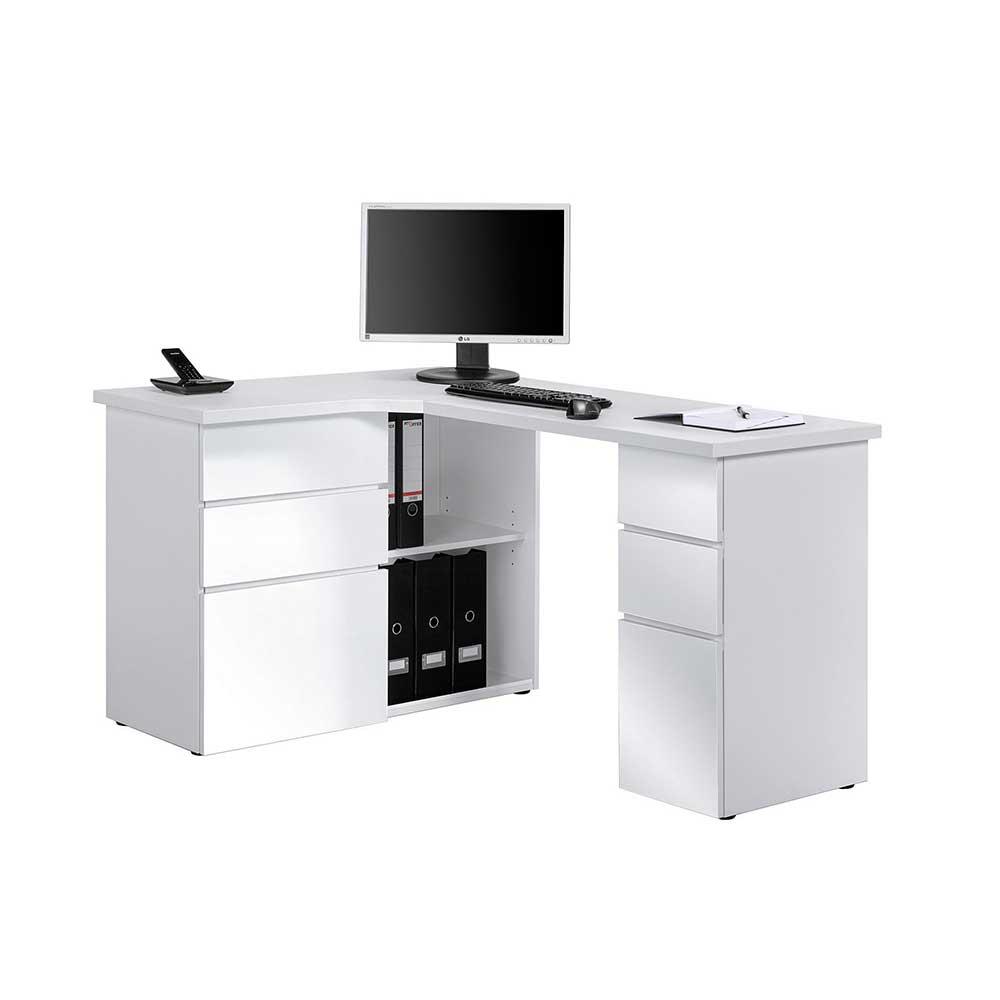 Eck Computertisch in Weiß mit Stauraum | Büro > Bürotische > Computertische | Weiß | Holzwerkstoff | Müllermöbel