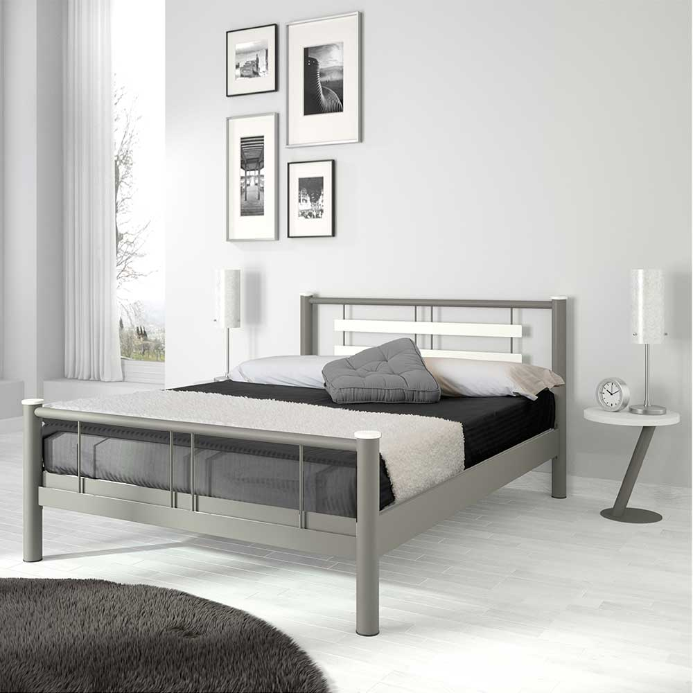 Jugendbett in Weiß Grau Metall