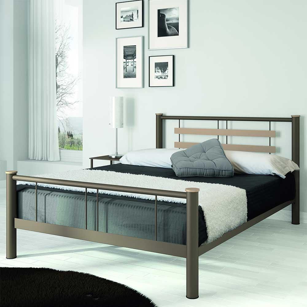 Jugendbett aus Metall Braun Beige | Kinderzimmer > Jugendzimmer > Jugendbetten | Braun | Metall | Violata Furniture