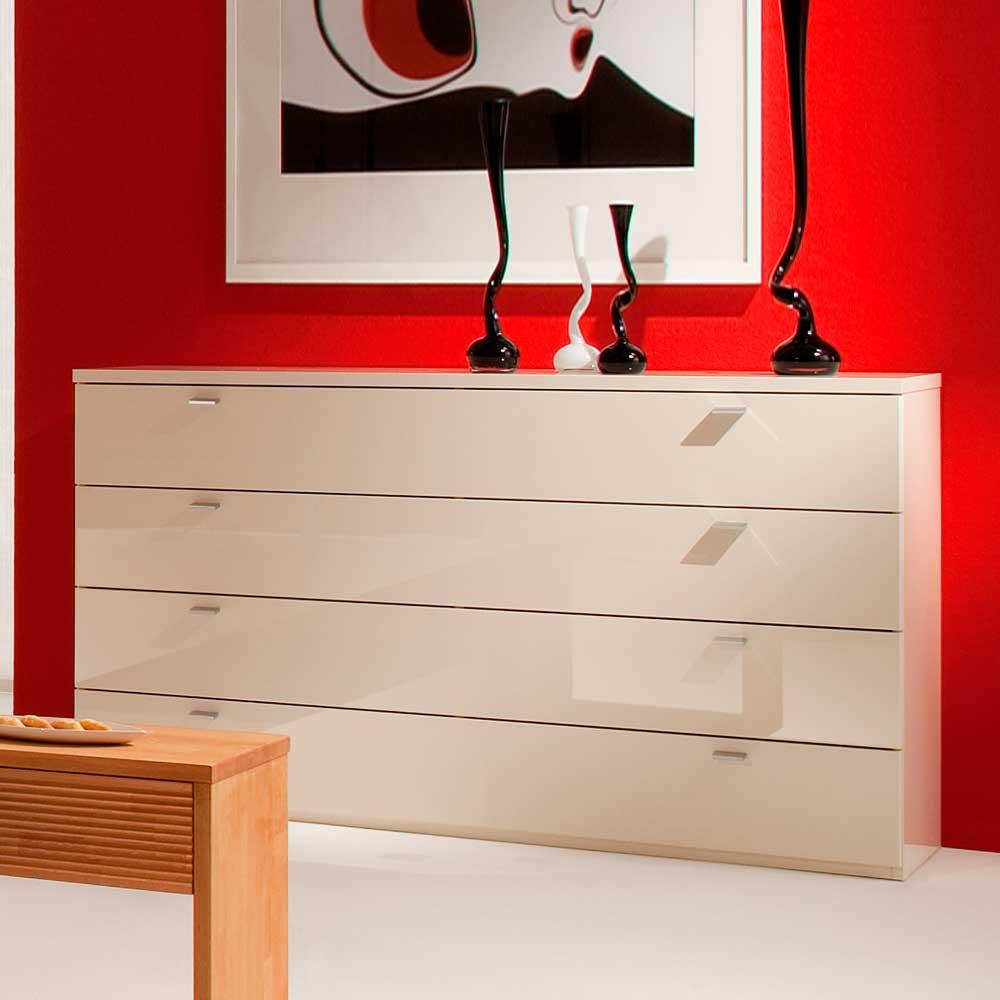 Schubladen Sideboard in Weiß Hochglanz 150 cm breit