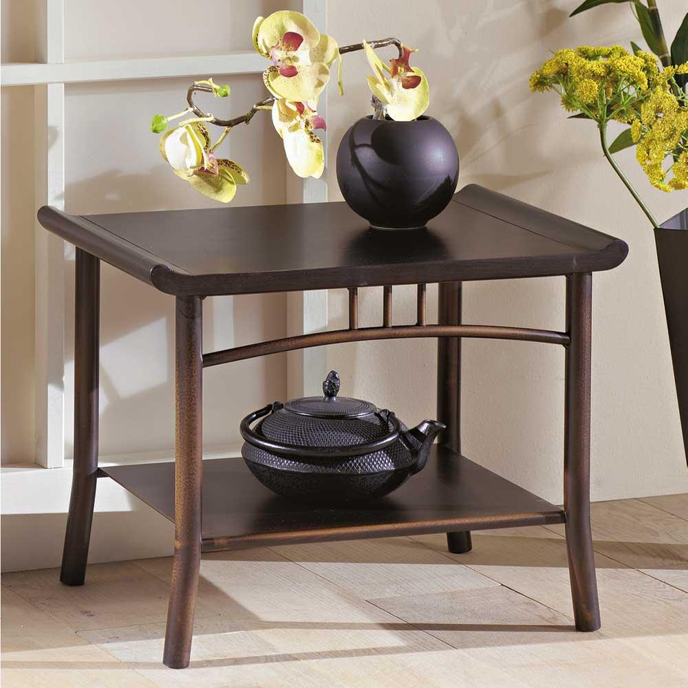 Nachttisch in Dunkelbraun Esche Massivholz   Schlafzimmer > Nachttische   Braun   Wenge - Stahl - Esche - Massivholz - Massiv - Holz - Metall - Lackiert   Violata Furniture