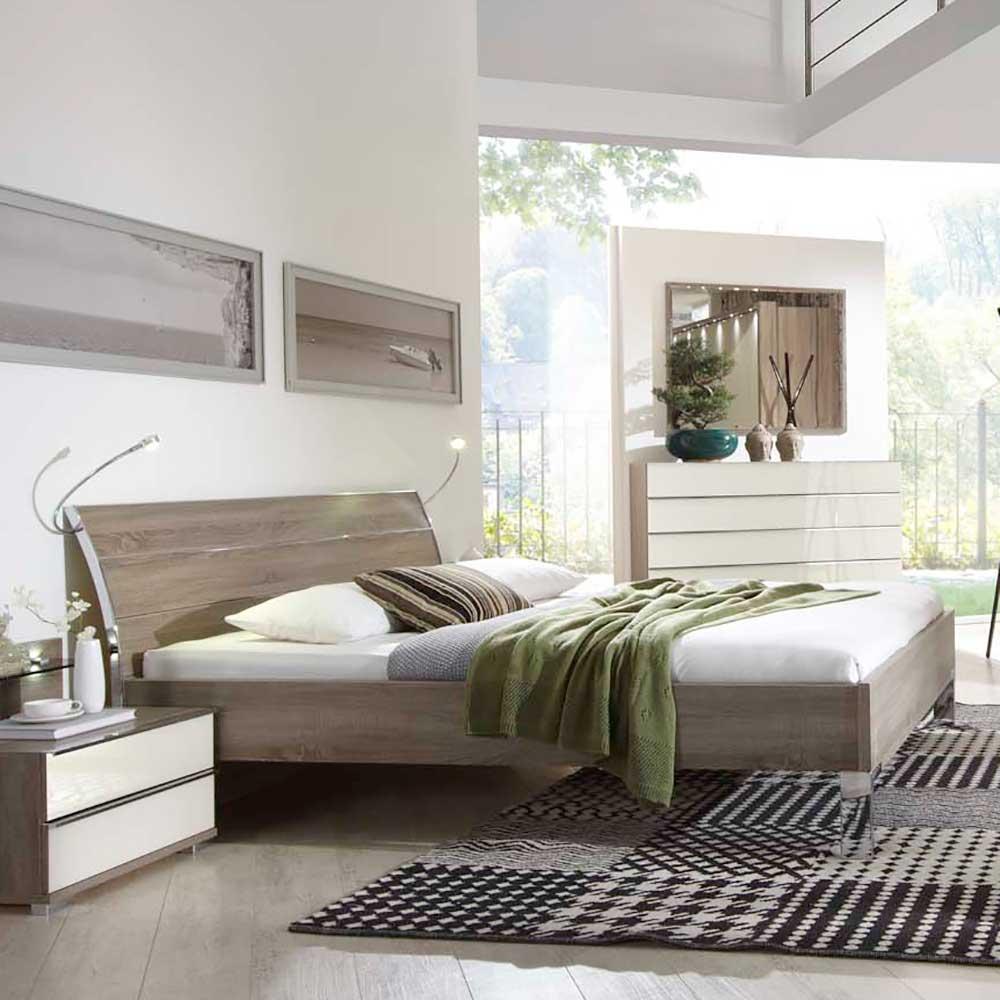 Komfortbett in Eiche dunkel Beleuchtung | Schlafzimmer > Betten > Komfortbetten | Holz | Holzwerkstoff | Franco Möbel
