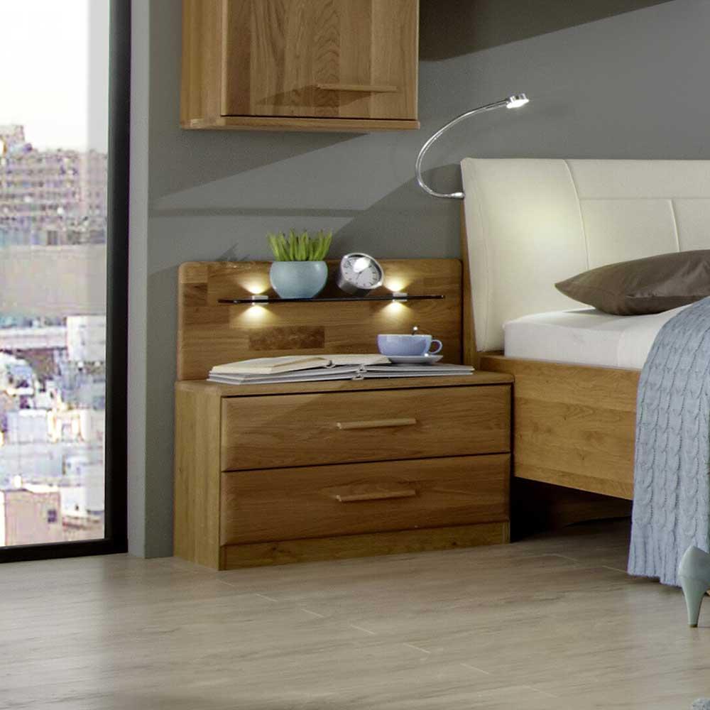 Nachtkonsole aus Eiche Massivholz Beleuchtung (2er Set) | Schlafzimmer > Nachttische | Eiche - Massivholz - Spanplatte - Holz - Lackiert - Massiv | Franco Möbel