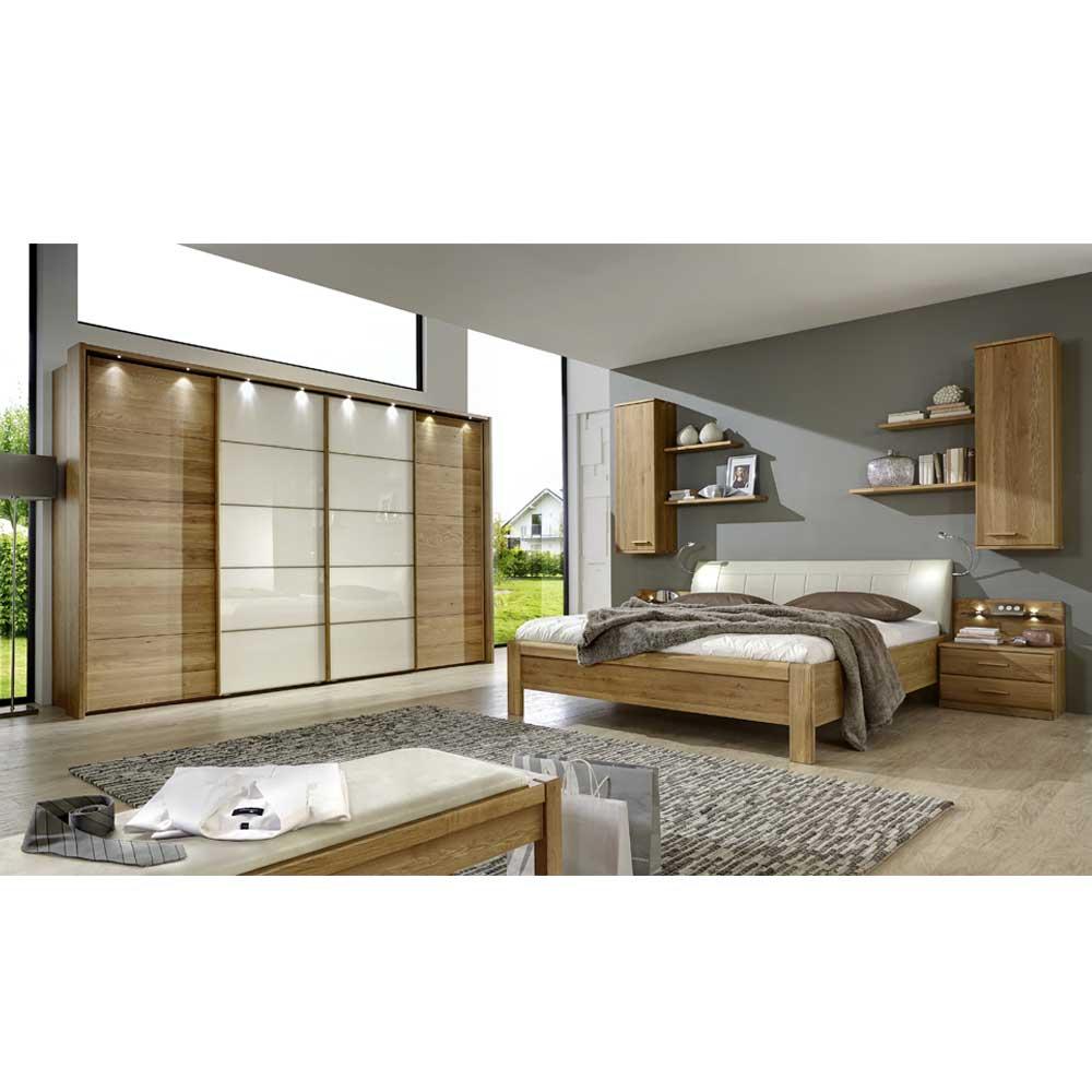 Schlafzimmer Einrichtung in Creme Eiche Dekor komplett (4-teilig)
