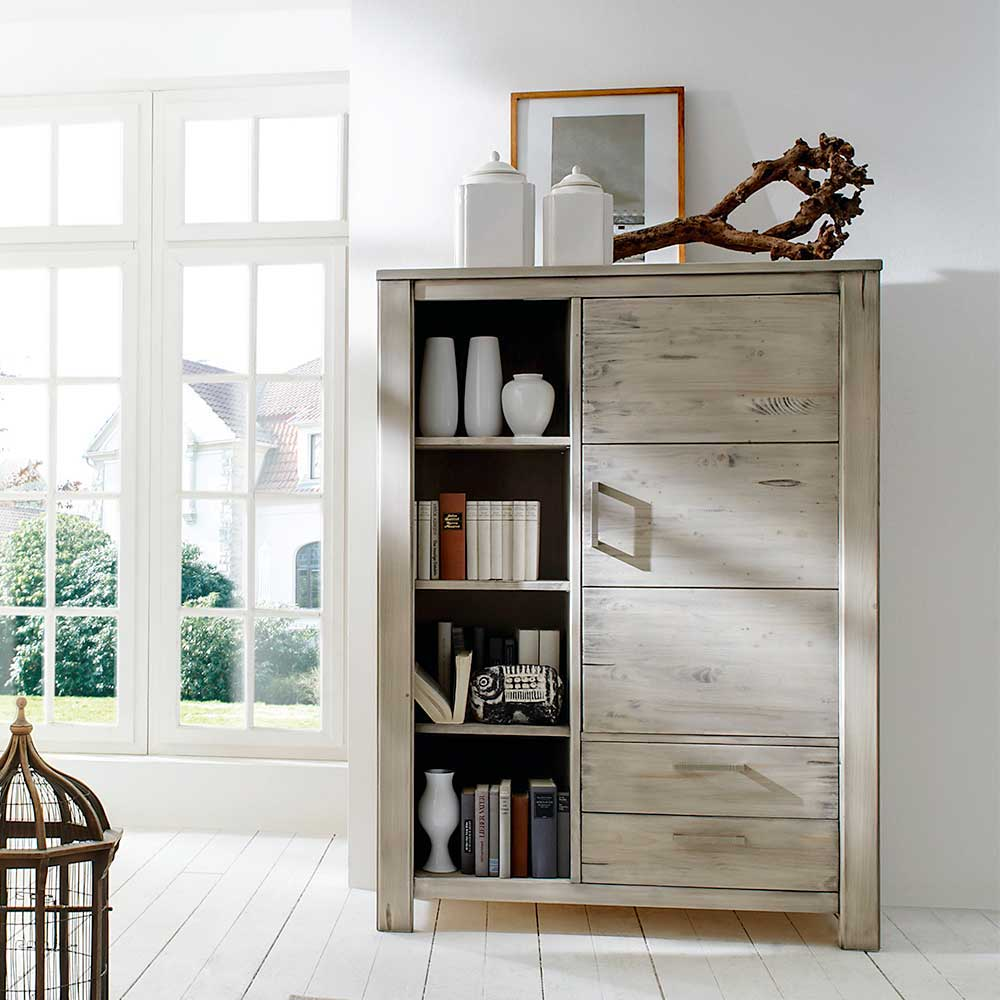 Highboard in Grau Fichte Massivholz