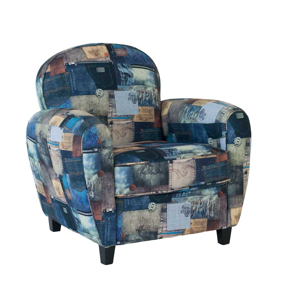 Fernsehsessel im Jeans Look Stoffbezug | Wohnzimmer > Sessel > Fernsehsessel | Blau | Textil | Natura Classico