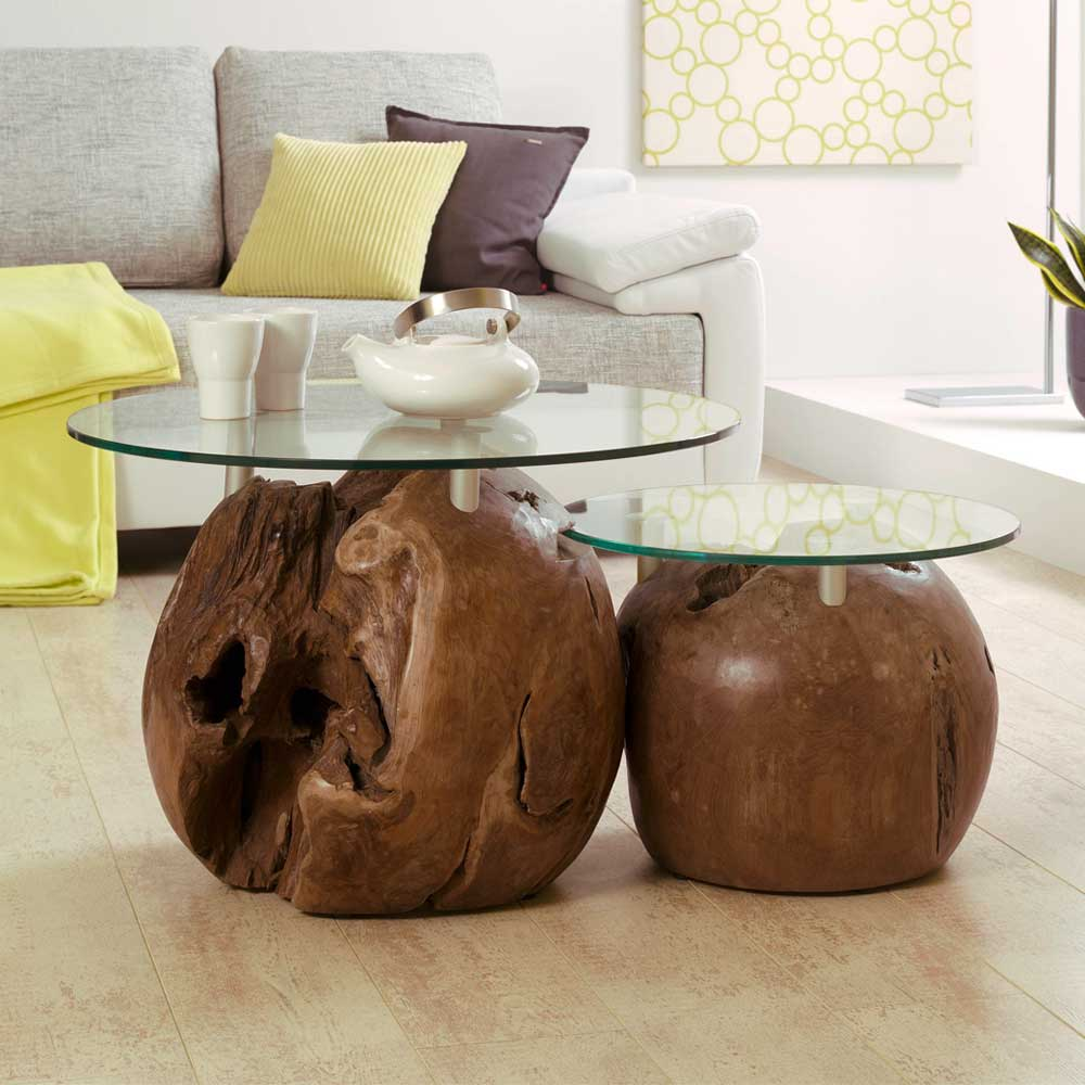 Zweisatztisch aus Teak Massivholz Glas (2-teilig) günstig online kaufen