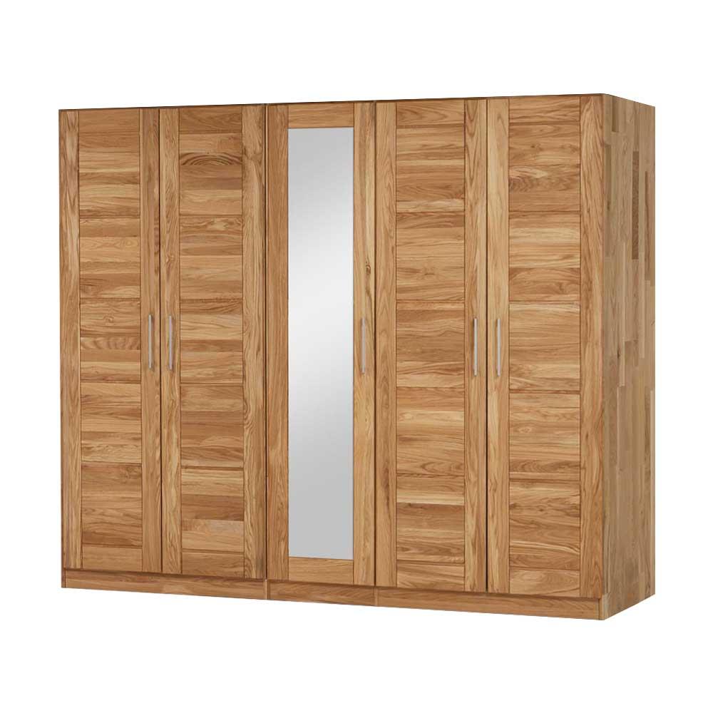 Massivholz Kleiderschrank mit Spiegel Wildeiche Massivholz