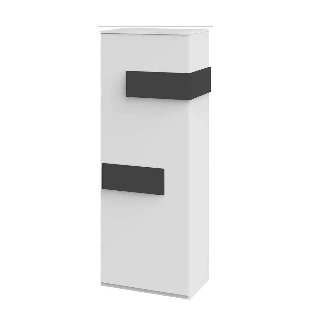 Schmaler Schrank in Weiß Grau 50 cm breit