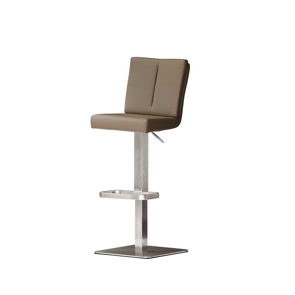 Küchenhocker in Braun mit Rückenlehne   Küche und Esszimmer > Stühle und Hocker > Küchenhocker   Braun   Kunstleder - Edelstahl   TopDesign