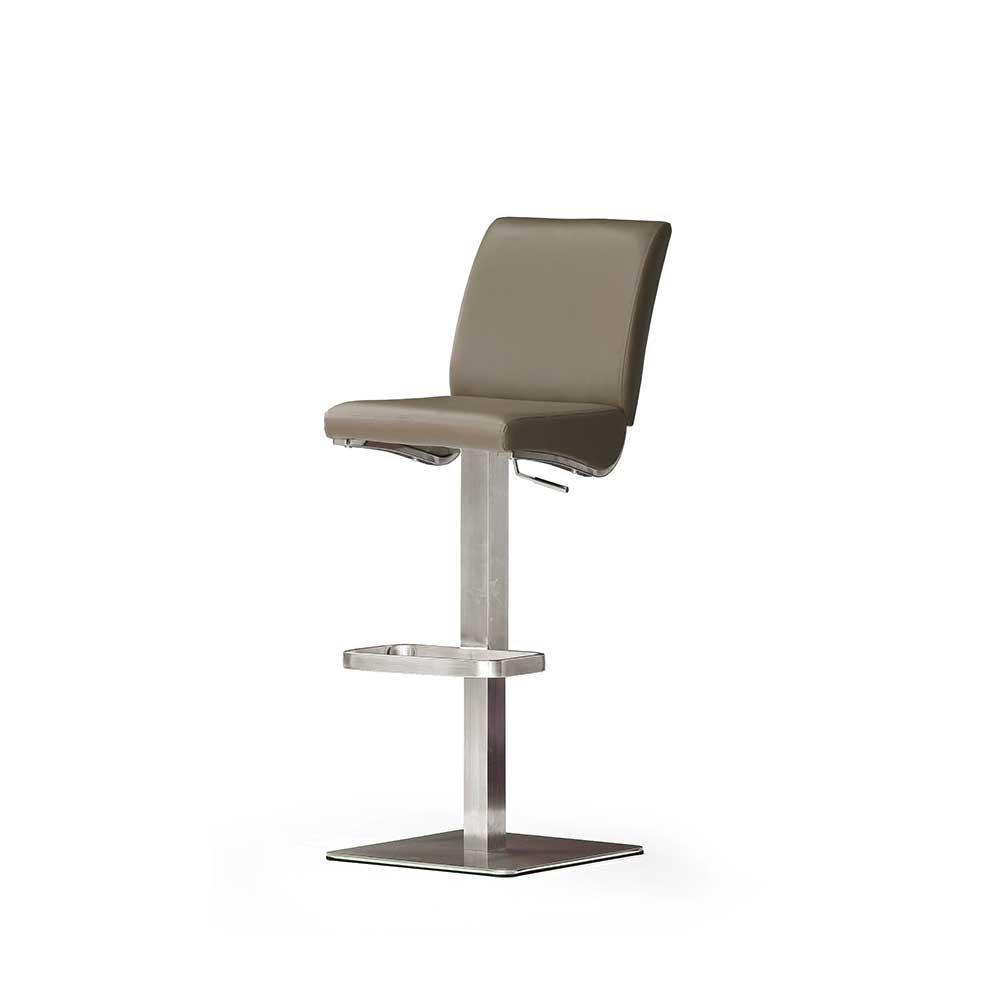 Küchenhocker in Braun Grau Echtleder | Küche und Esszimmer > Stühle und Hocker > Küchenhocker | Braun | Textil | TopDesign