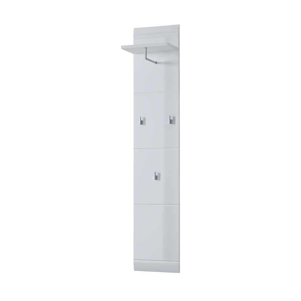 Flurgarderobe in Hochglanz Weiß mit Hutablage | Flur & Diele > Regale für Flur und Diele | Weiß | Holzwerkstoff | Möbel Exclusive