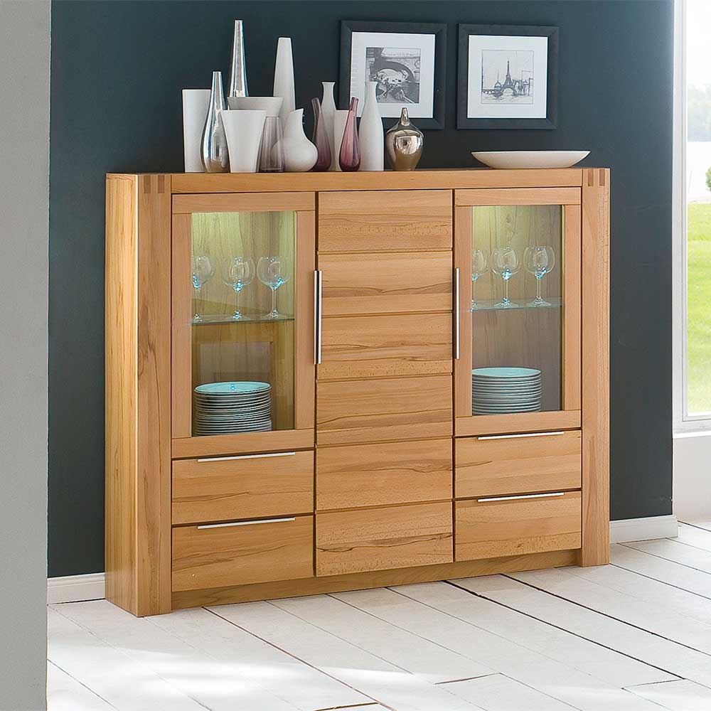 Kernbuche Highboard mit Glastüren modern