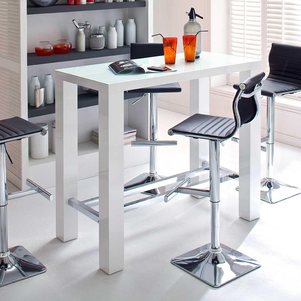 Küchenbartisch mit Glasplatte Weiß Hochglanz