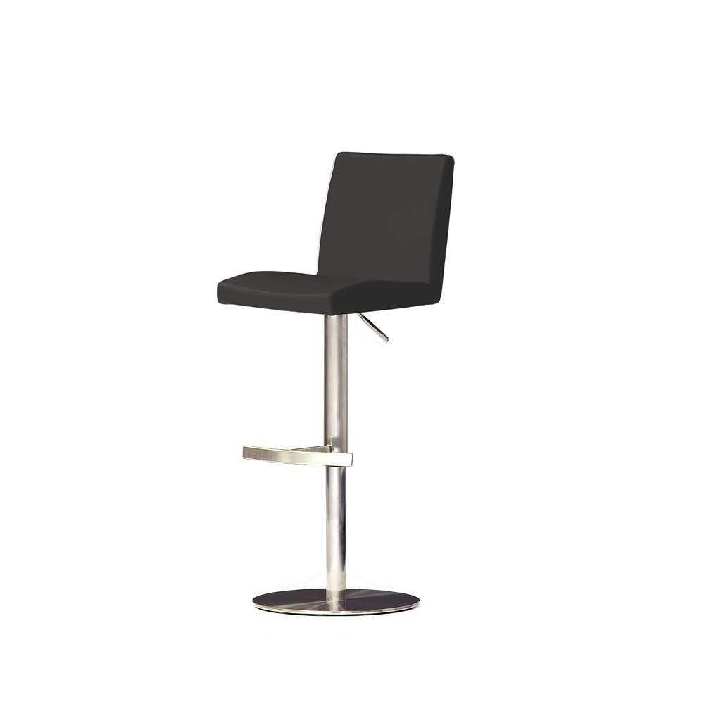 Küchenhocker in Schwarz Rückenlehne | Küche und Esszimmer > Stühle und Hocker > Küchenhocker | Schwarz | Textil | TopDesign