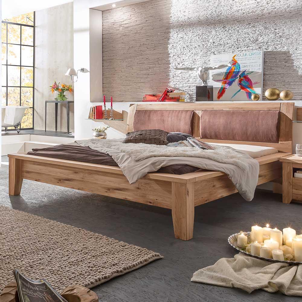 Komfortbett mit gepolstertem Kopfteil Eiche | Schlafzimmer > Betten > Komfortbetten | Nature Dream