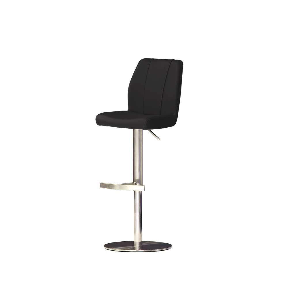 Küchenhocker in Schwarz Leder | Küche und Esszimmer > Stühle und Hocker > Küchenhocker | Schwarz | Textil | TopDesign