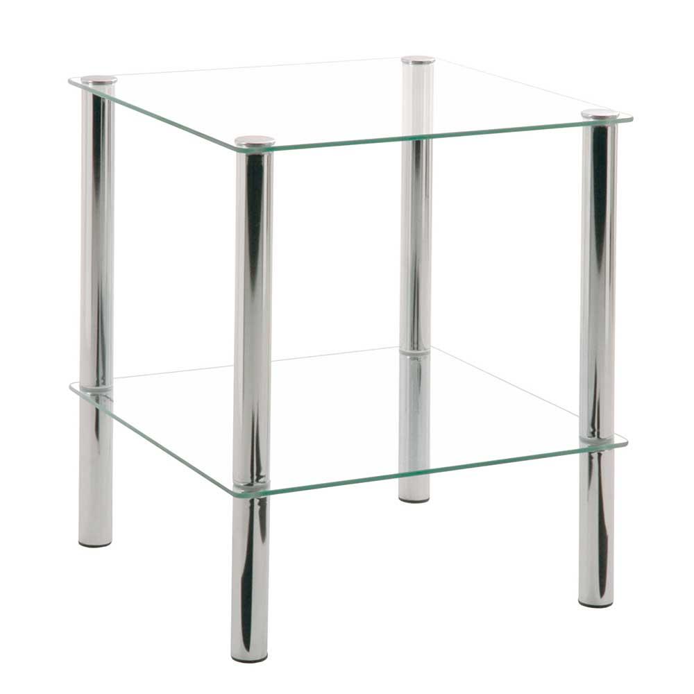 Glastisch mit Ablage Stahl