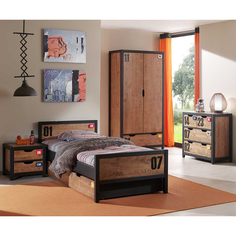 Jugendzimmermöbel in Braun Schwarz Kiefer (5-teilig) | Kinderzimmer > Jugendzimmer | 4Home