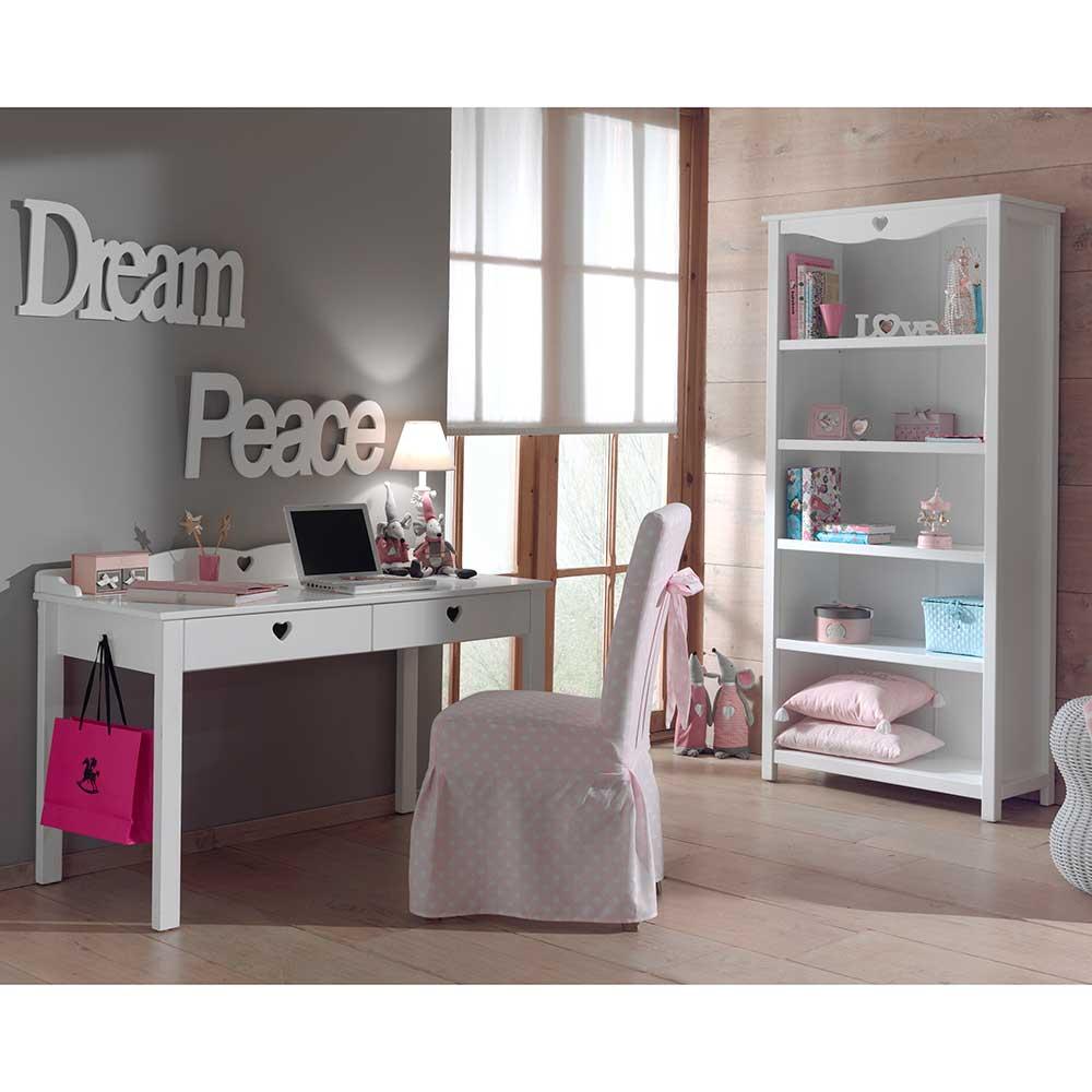 Jugendzimmermöbel in Weiß Herzen (2-teilig) | Kinderzimmer > Jugendzimmer > Komplett-Jugendzimmer | Weiß | Mdf - Lackiert - Metall | 4Home