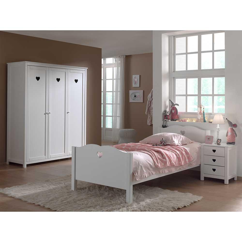 Jugendzimmermöbel in Weiß Herzchen (3-teilig) | Kinderzimmer > Jugendzimmer | Weiß | Holzwerkstoff | 4Home