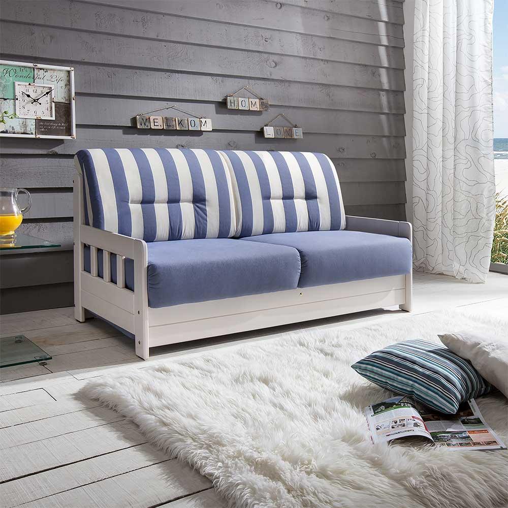 Maritimes Sofa mit Schlaffunktion Blau Weiß gestreift