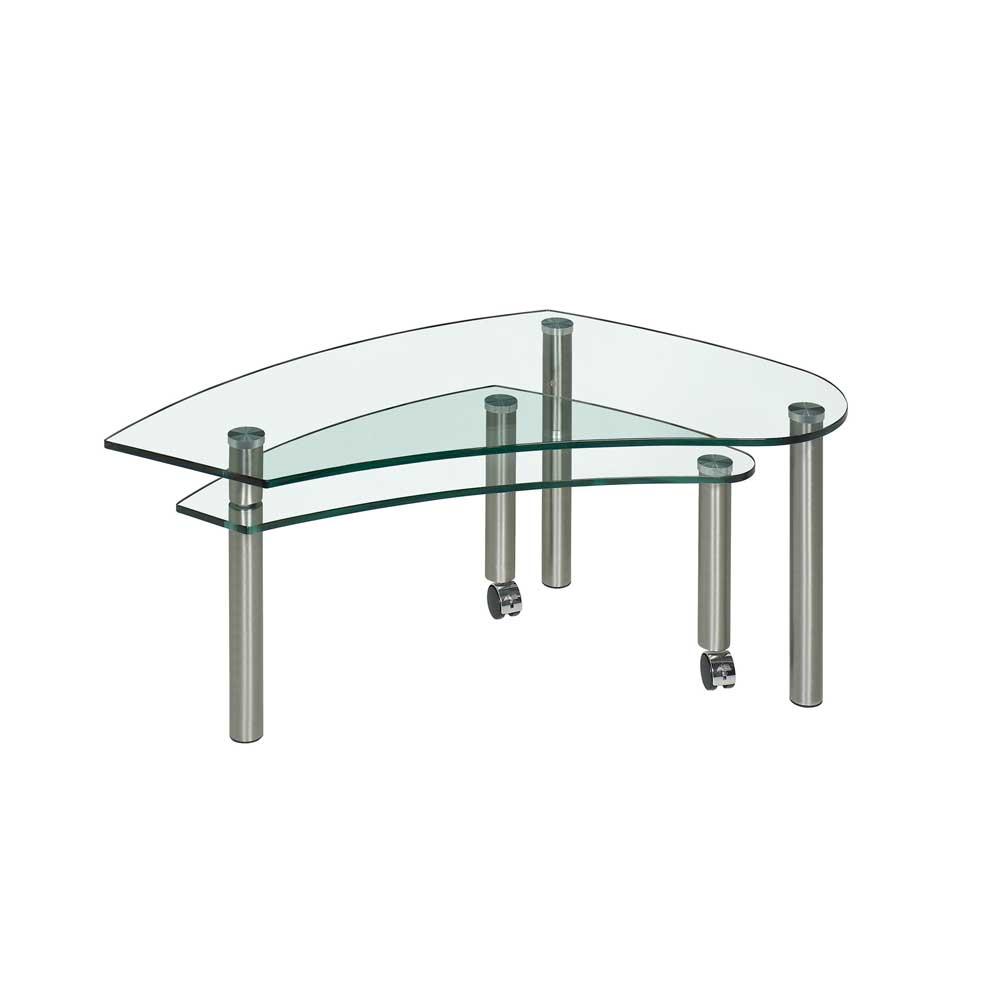 Wohnzimmertisch mit Rollen 2 Glasplatten