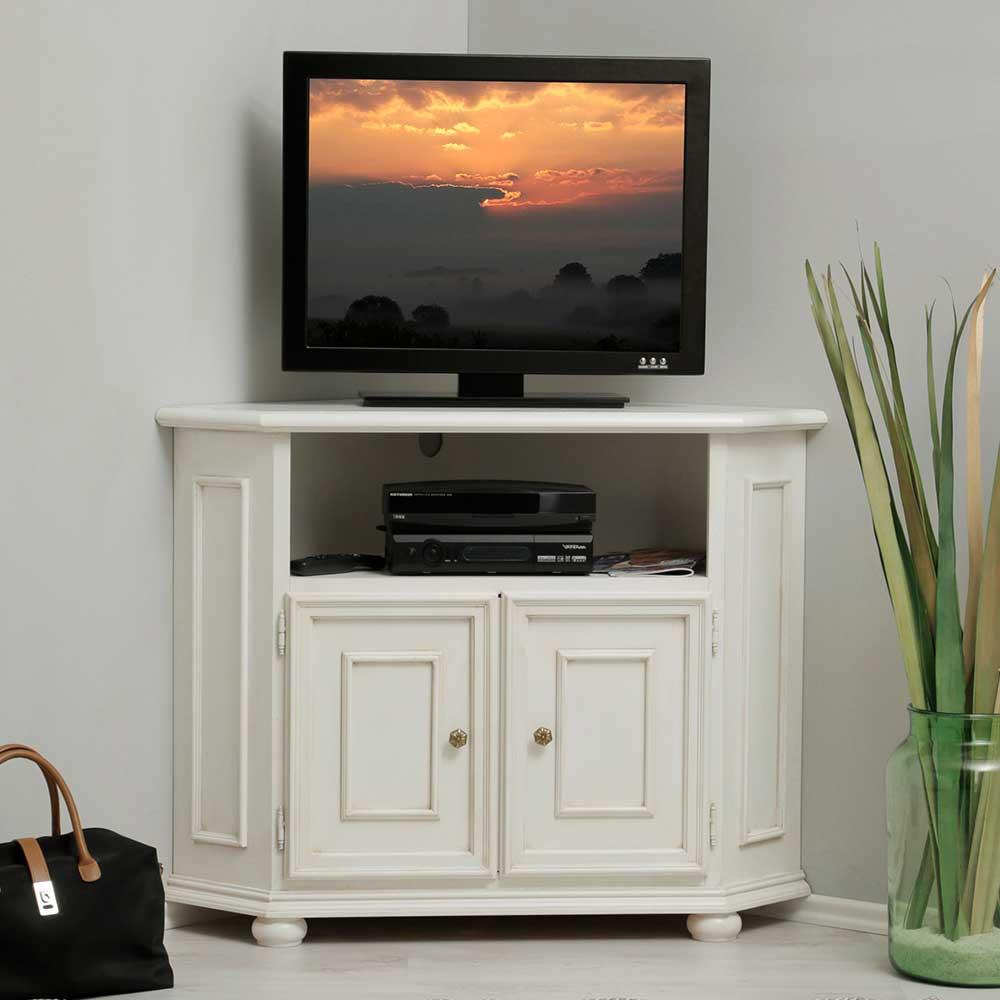 Eckschrank für Fernseher Weiß