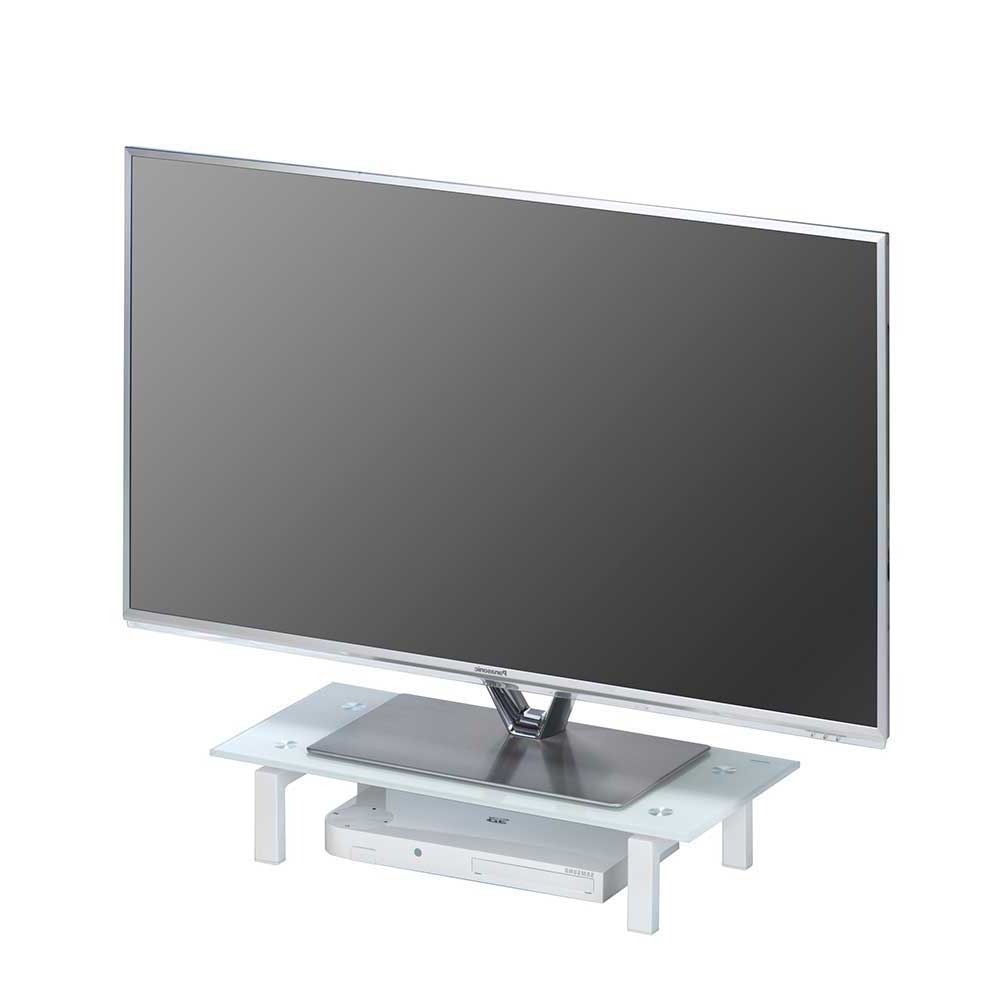 TV Aufsatz aus Glas Weiß