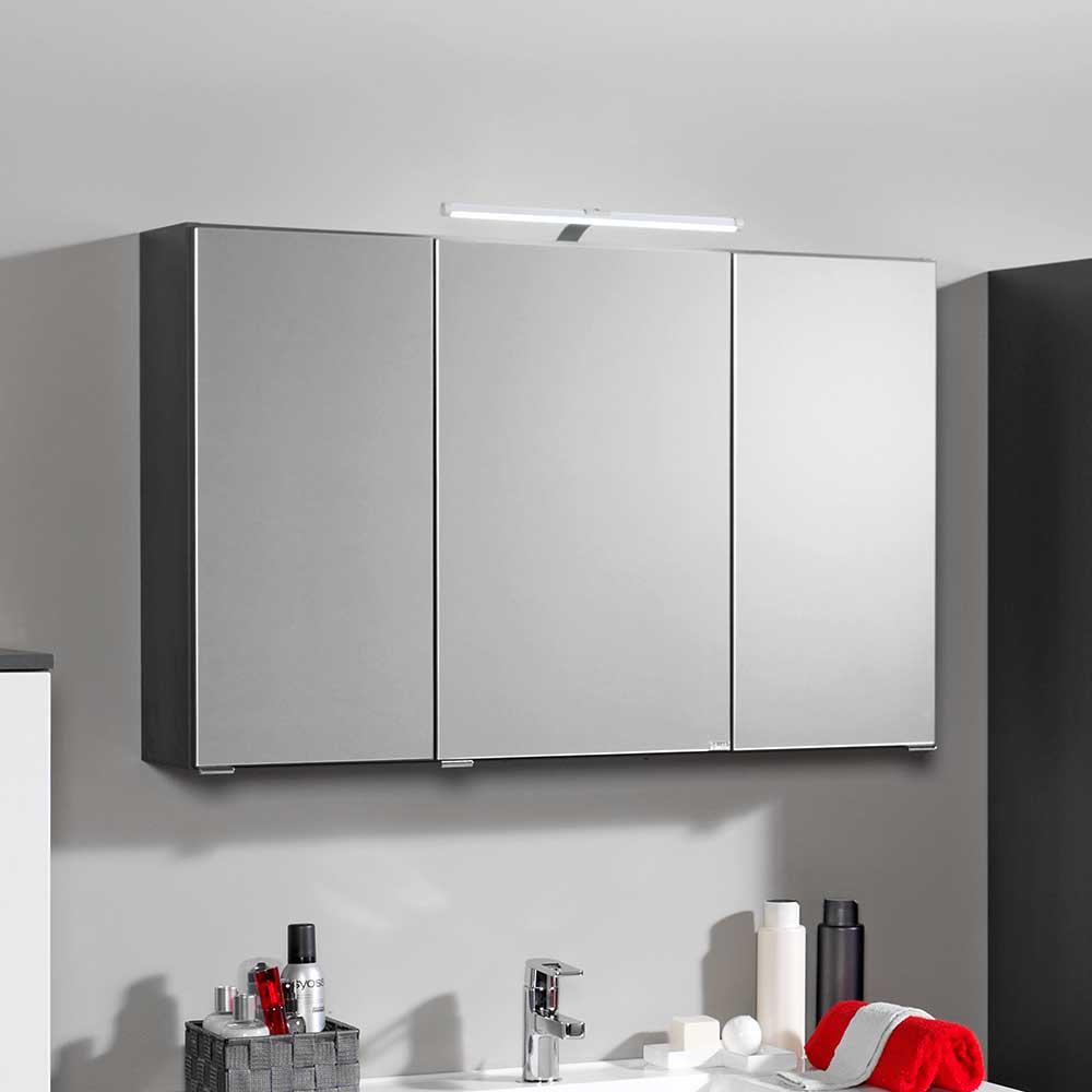 Bad Spiegelschrank mit 3D Effekt Anthrazit | Bad > Spiegel fürs Bad > Badspiegel | Grau | Spiegelglas - Mdf | Star Möbel