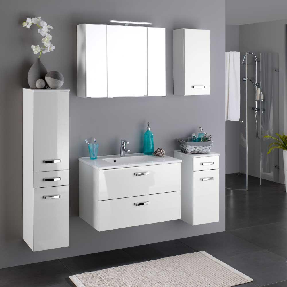 Hochglanz Badmöbel Set in Weiß komplett (fünfteilig)