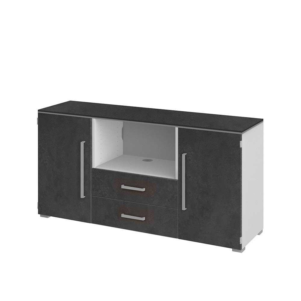 TV Sideboard in Grau Weiß 140 cm breit
