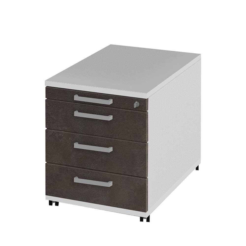 Büro Rollcontainer mit Zentralverriegelung Braun Weiß