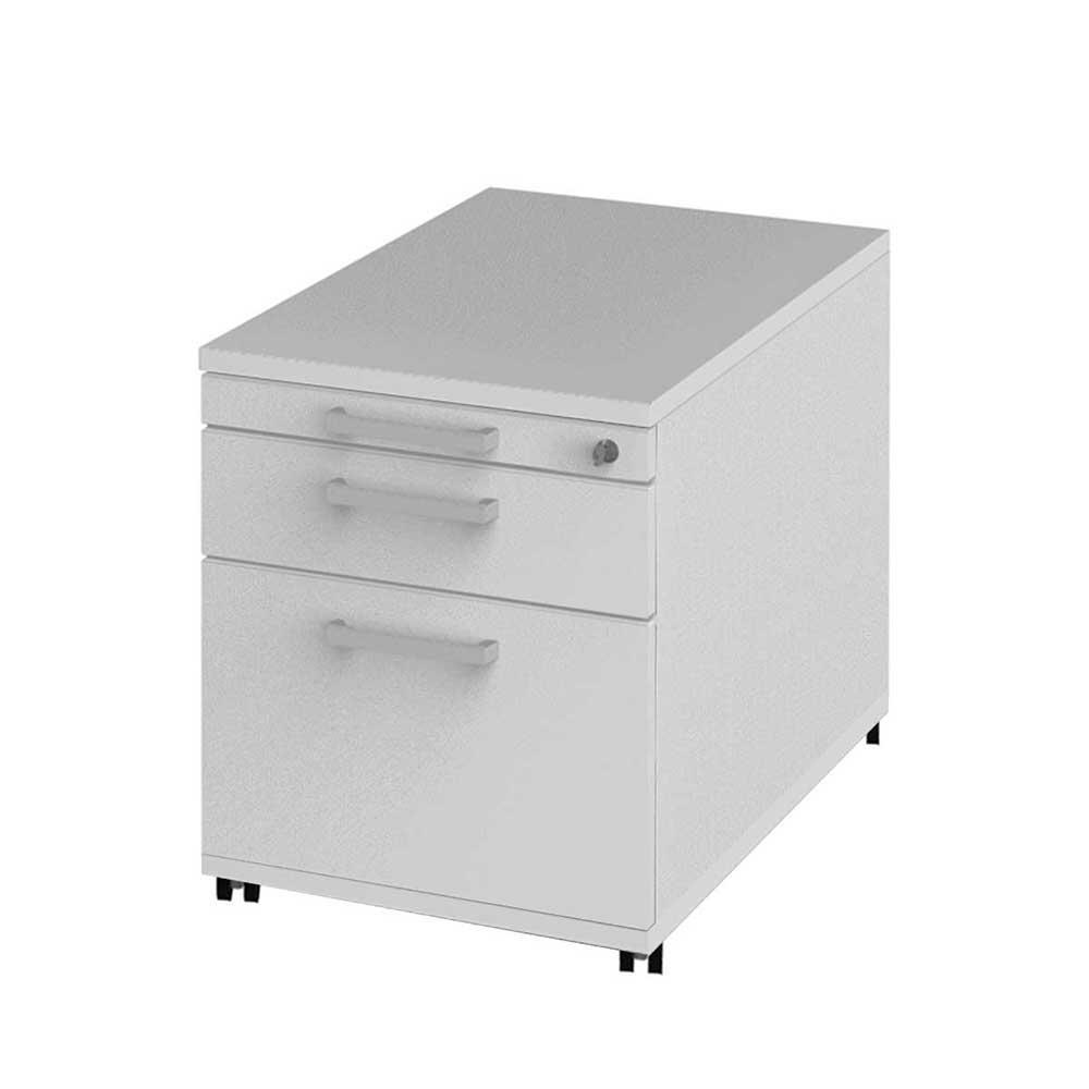 Schreibtisch Rollcontainer mit Zentralverriegelung Weiß