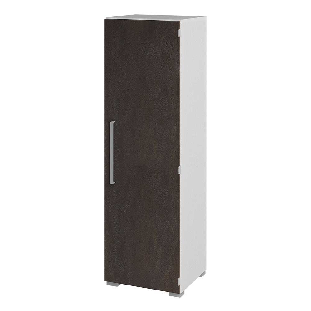 Büroschrank in Braun Weiß 1 türig | Büro > Büroschränke > Aktenschränke | Braun | Holzwerkstoff | Spirinha