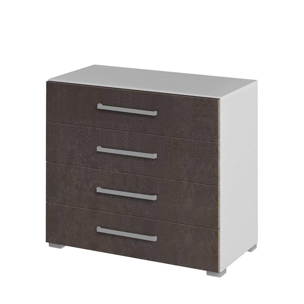 Schubladenkommode für Büro Braun Weiß