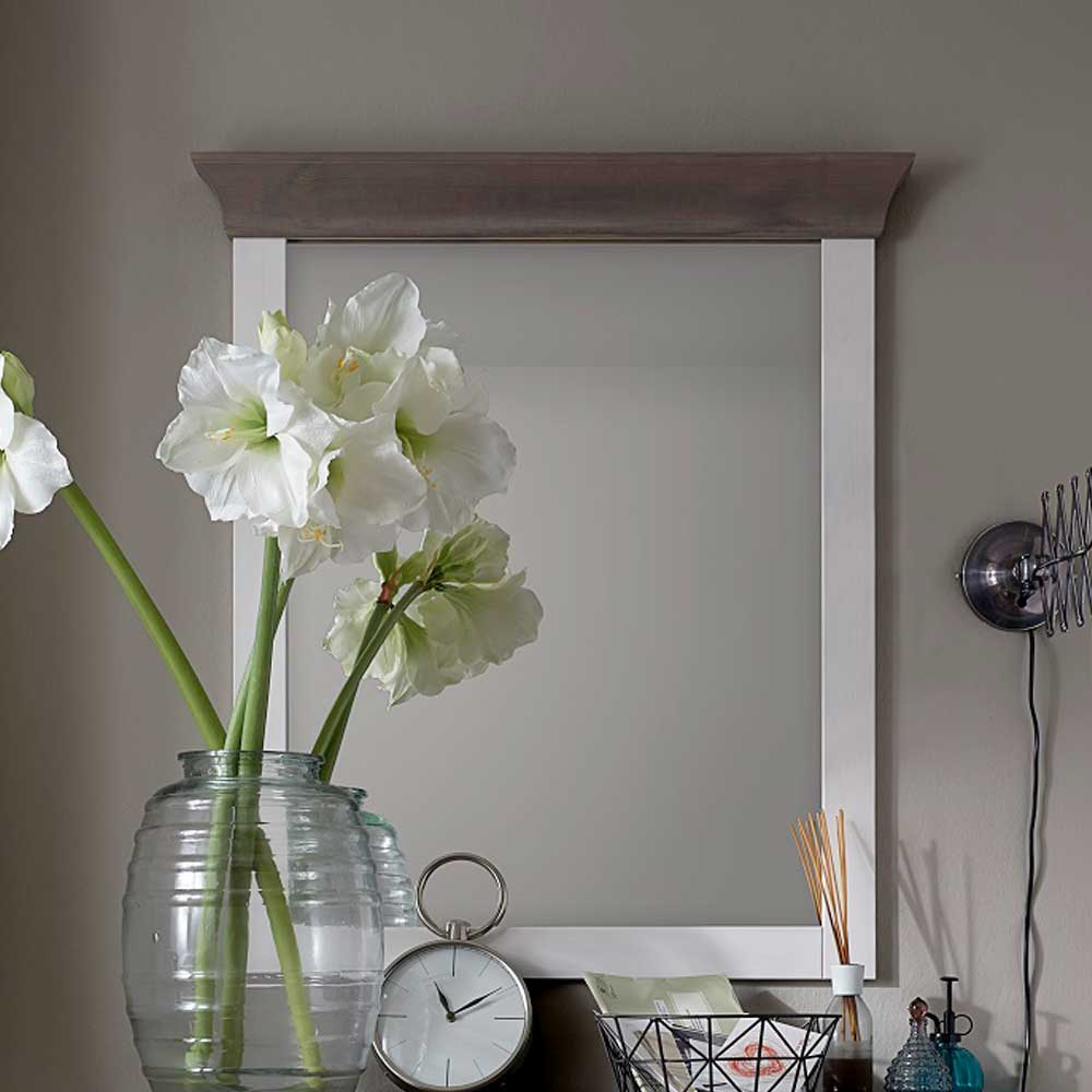 Garderobenspiegel in Weiß Grau Kiefer massiv | Flur & Diele > Spiegel > Garderobenspiegel | Life Meubles