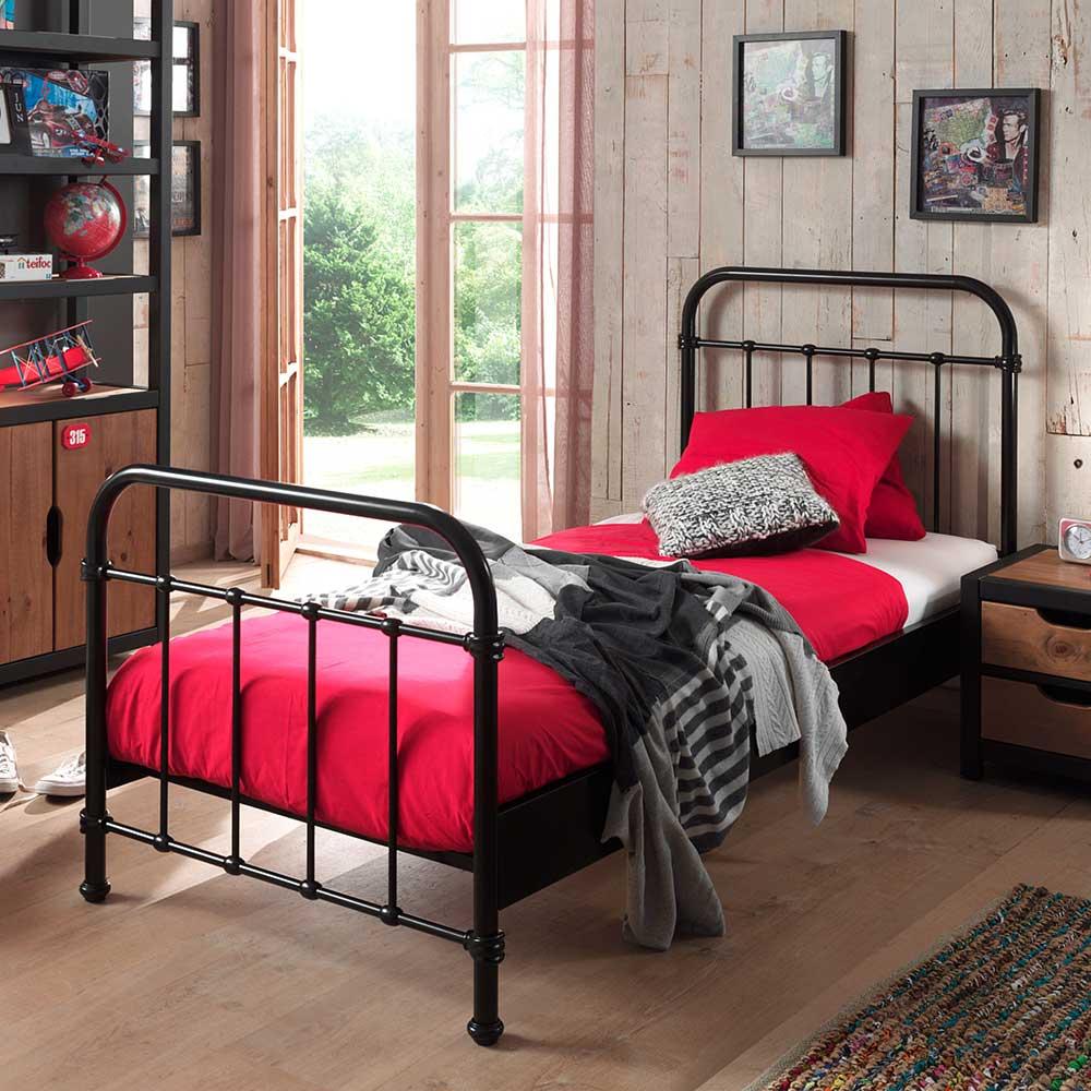 Metallbett in Schwarz 90x200 | Schlafzimmer > Betten > Metallbetten | Schwarz | Metall | 4Home