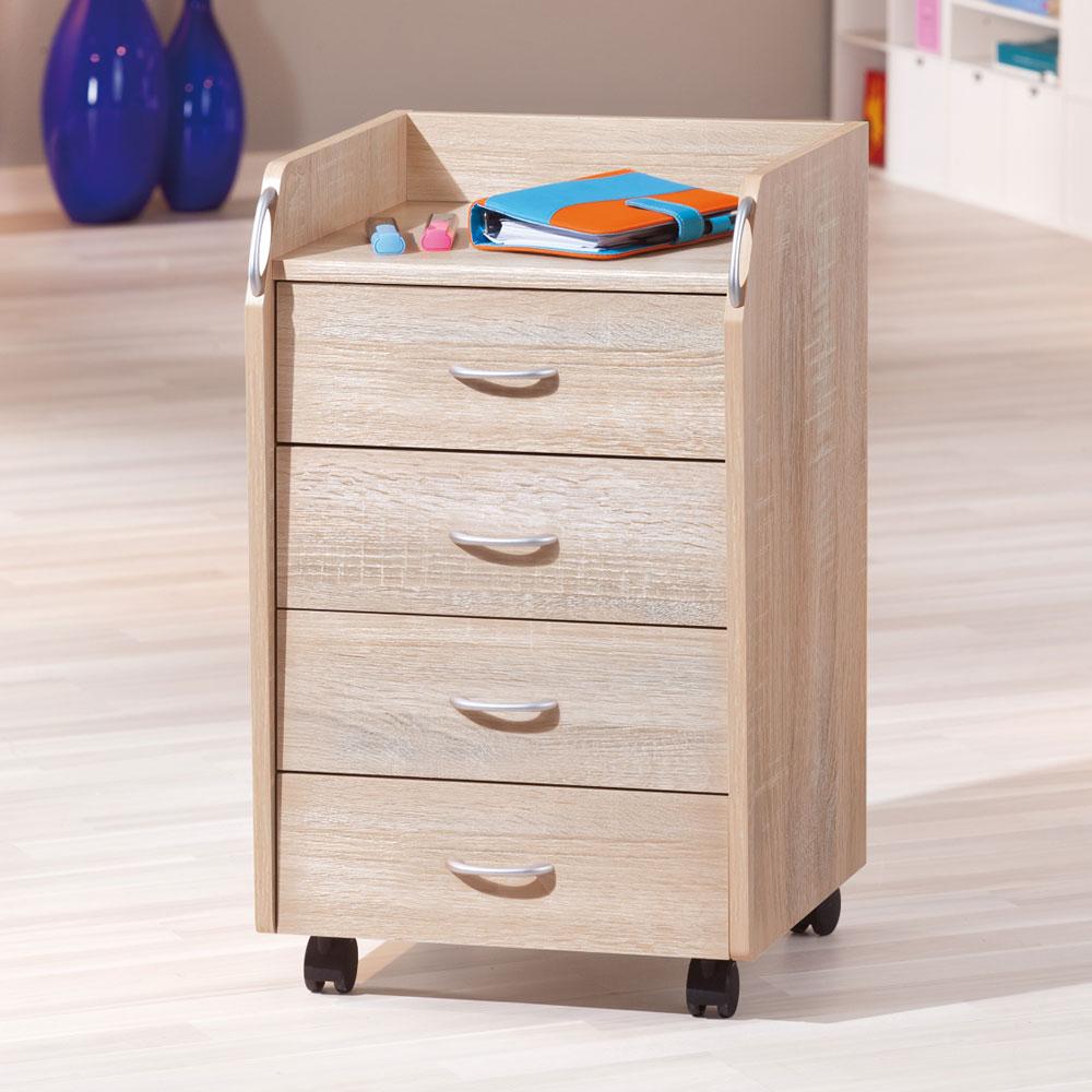 Schubladencontainer mit Rollen Eiche Sägerau | Büro > Büroschränke > Container | TopDesign
