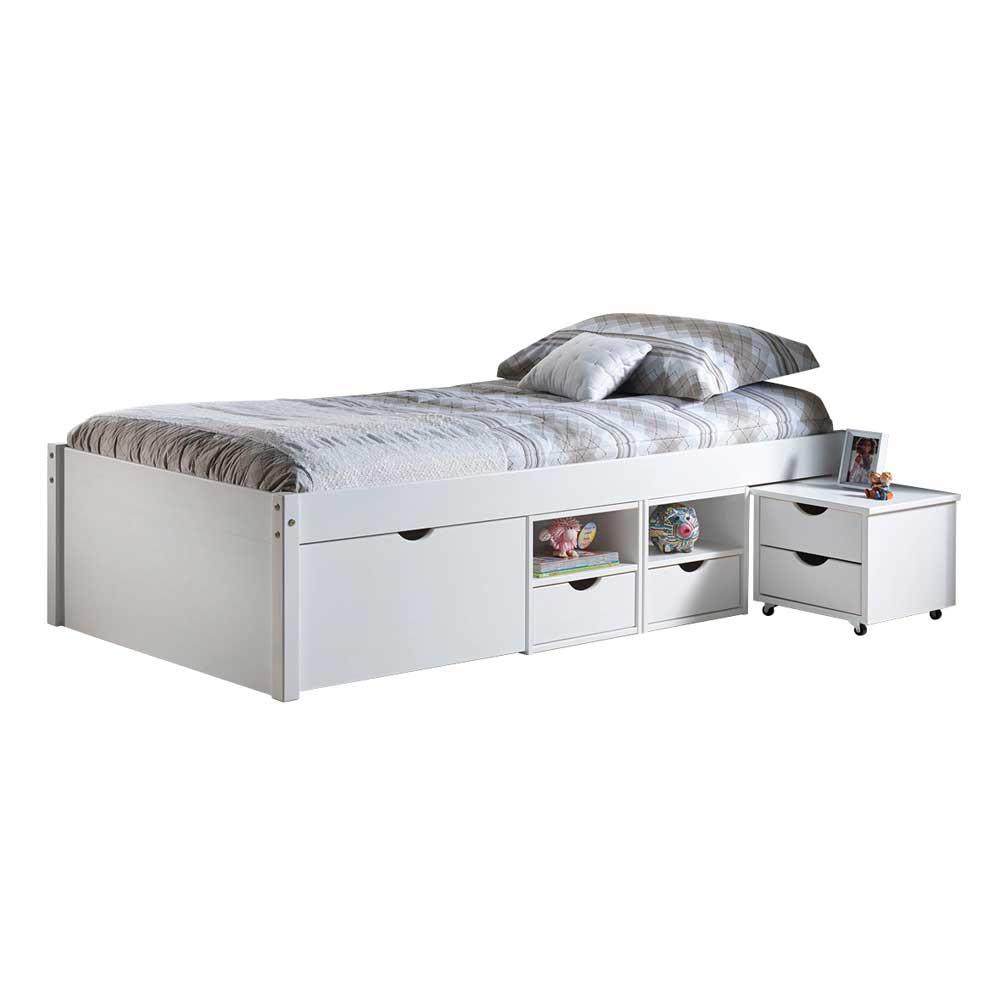 Strauraumbett in Weiß Kiefer Massivholz