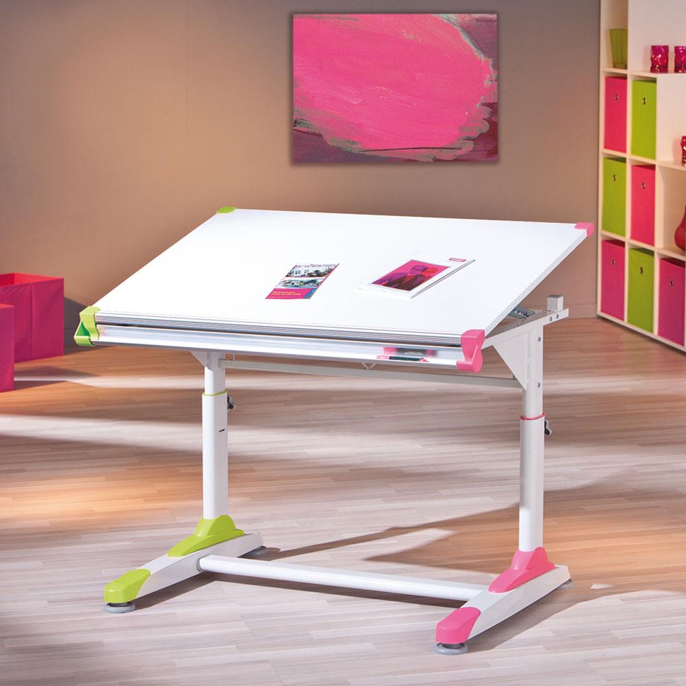 Schülerschreibtisch in Weiß höhenverstellbar | Kinderzimmer > Kindertische > Kinderschreibtische | Weiß | Holzwerkstoff | TopDesign