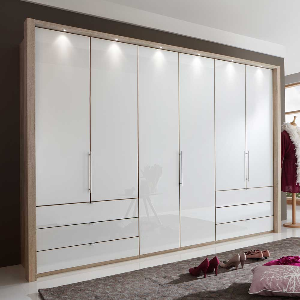 Schlafzimmerschrank mit Panorama Gleittüren Weiß Eiche
