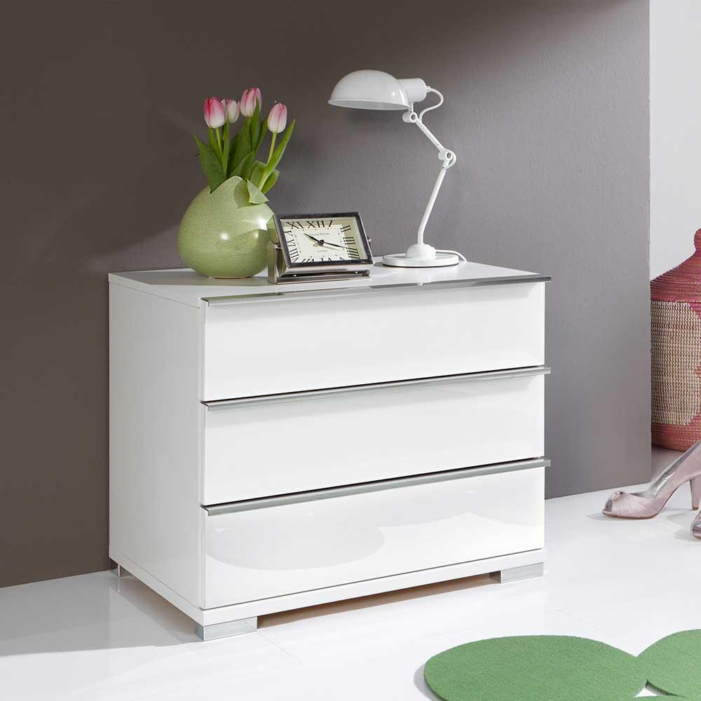 Nachtkonsole in Weiß 3 Schubladen (2er Set) | Schlafzimmer > Nachttische | Weiß | Spanplatte - Metall - Glas | Franco Möbel