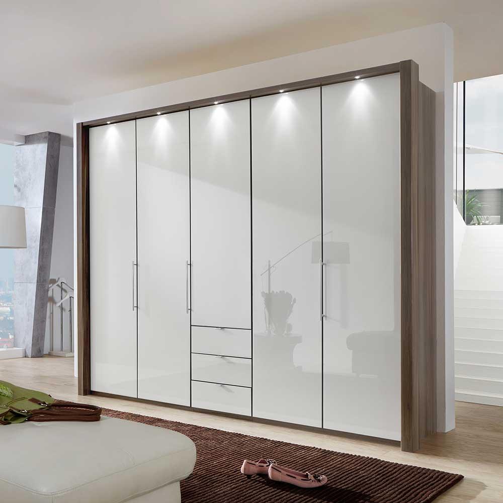 Schlafzimmerschrank in Weiß Eiche Trüffel Falttüren