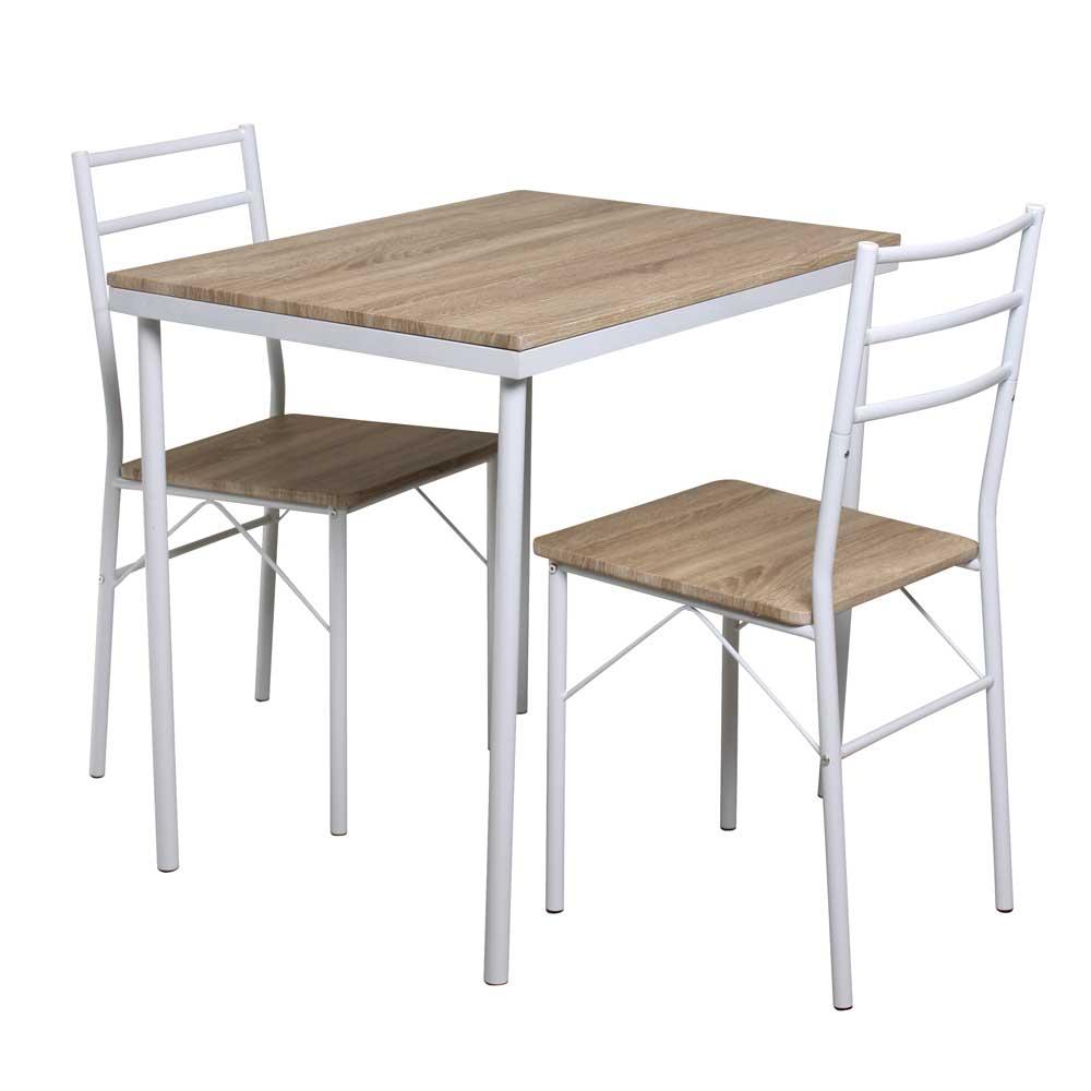 Küchen Sitzgruppe in Weiß Eiche Sonoma (3-teilig)