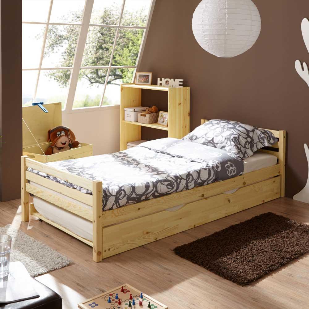 Massivholzbett aus Kiefer Bettkasten