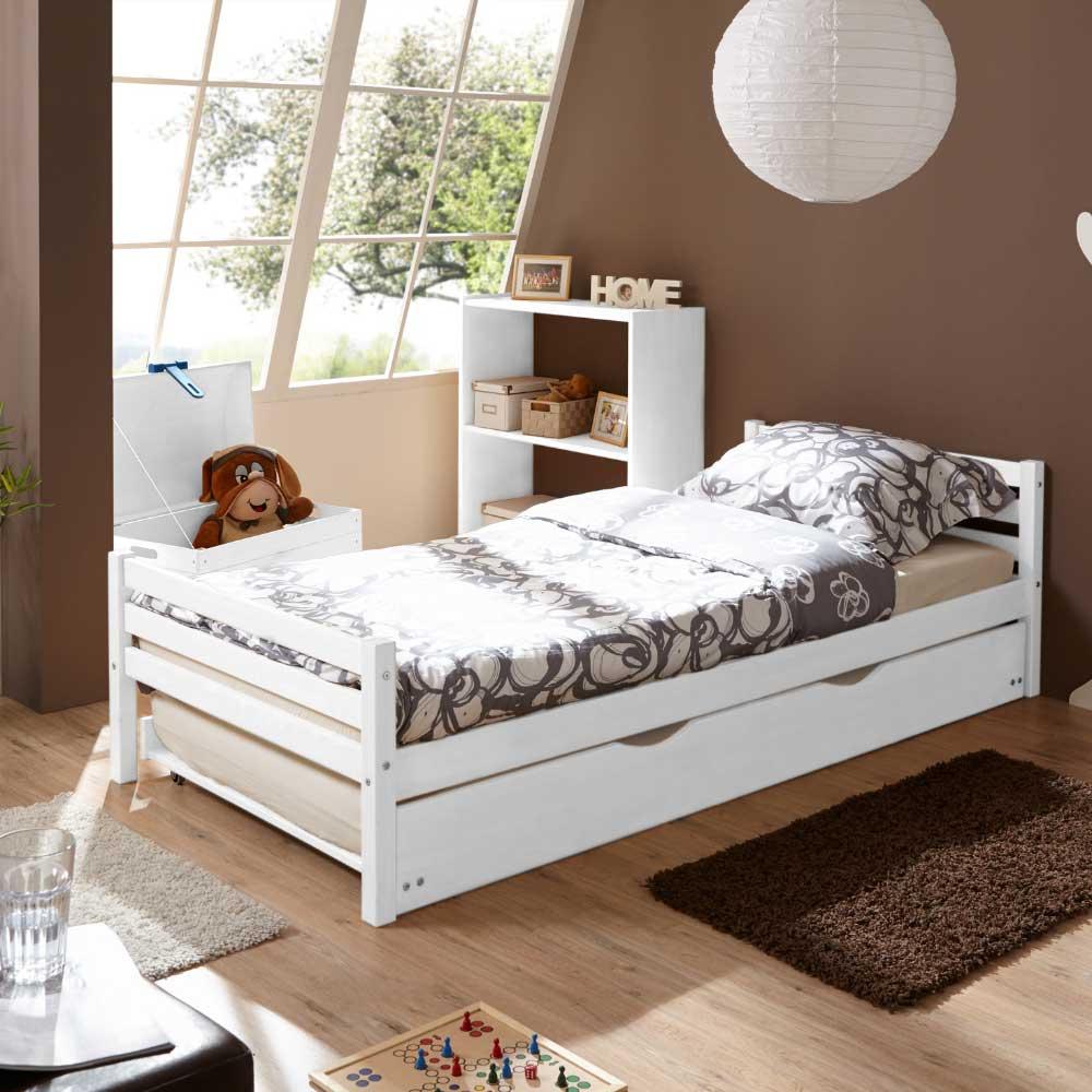 Massivholz Einzelbett in Weiß Bettkasten
