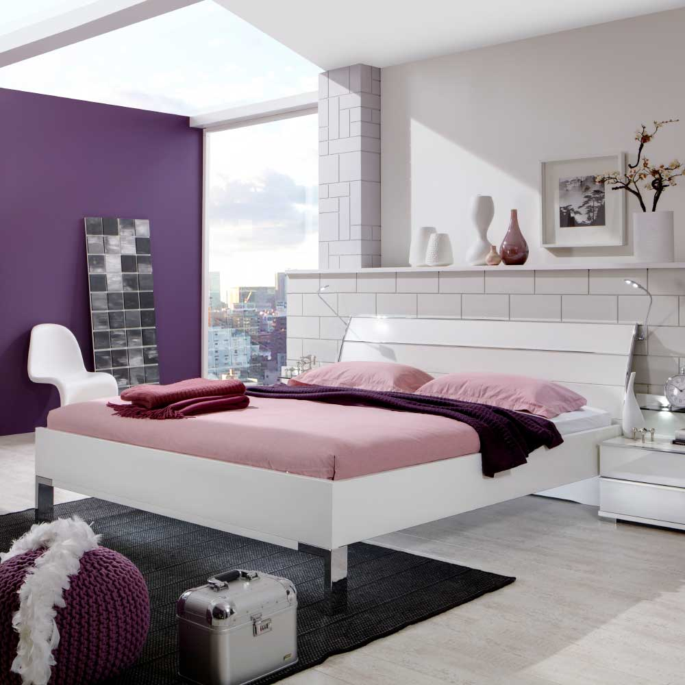 Design Bett in Weiß Beleuchtung