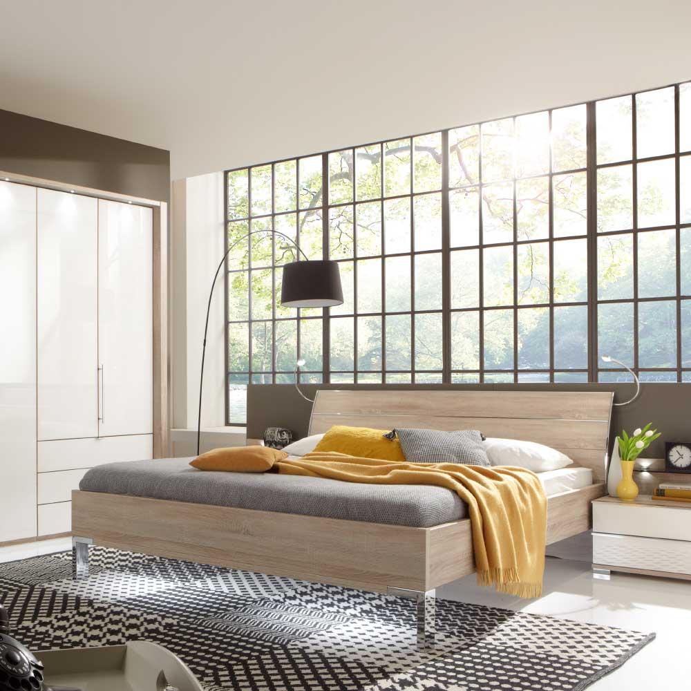 Schlafzimmer Bett in Eiche Sägerau Kopfteil Beleuchtung